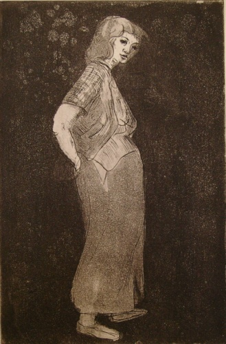 "<h4 style=""margin:0px 0px 5px 0px"">(Young woman)</h4>Medium: Etching<br />Price: Sold 