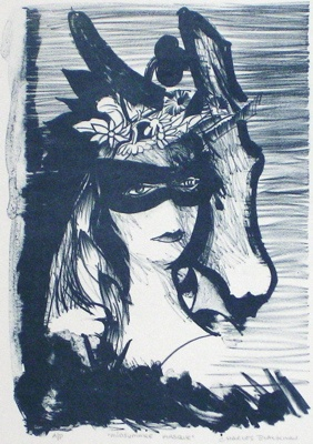 "Midsummer Masque<br /><br />Medium: Lithograph<br />Price: $2,300<br /><a href=""Artwork-Blackman-MidsummerMasque-40.htm"">View full artwork details</a>"