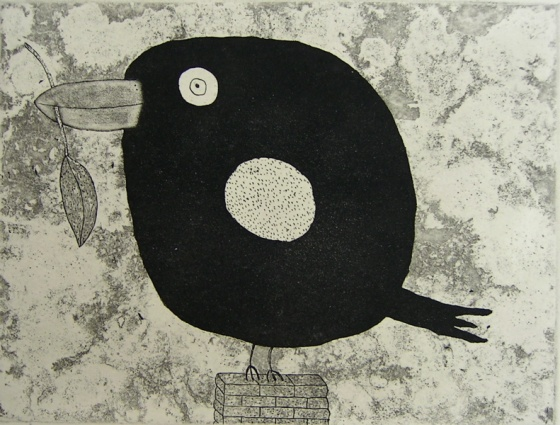 "<h4 style=""margin:0px 0px 5px 0px"">Bird with leaf</h4>Medium: Etching<br />Price: $350 