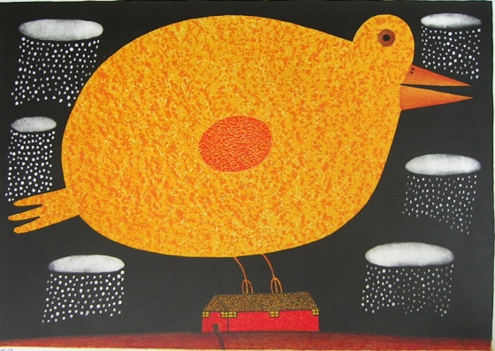 "<h4 style=""margin:0px 0px 5px 0px;"">Giant bird singing in the rain</h4>Medium: Lithograph<br />Price: Sold <span style=""color:#aaa"">