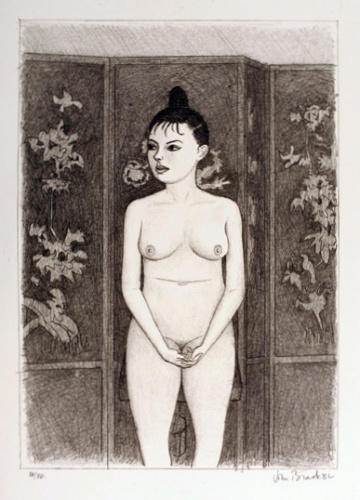 "Nude 4 (screen/standing)<br /><br />Medium: Lithograph<br />Price: $ Price On Application<br /><a href=""Artwork-Brack-Nude4screenstanding-1200.htm"">View full artwork details</a>"