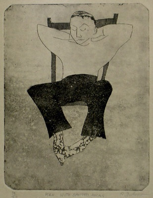 "<h4 style=""margin:0px 0px 5px 0px;"">Man with Spotted Socks</h4>Medium: Etching<br />Price: Currently Unavailable <span style=""color:#aaa"">