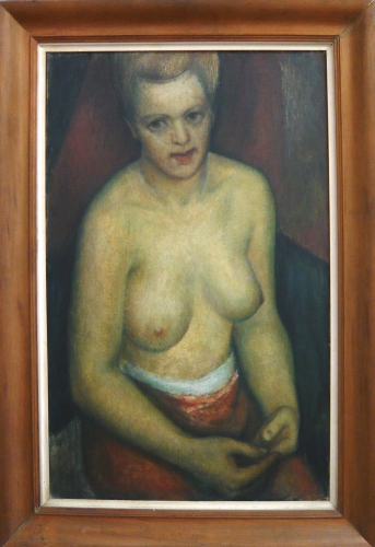 "Half Nude<br /><br />Medium: Oil on canvas, framed<br />Price: $ Price On Application<br /><a href=""Artwork-Green-HalfNude-2971.htm"">View full artwork details</a>"