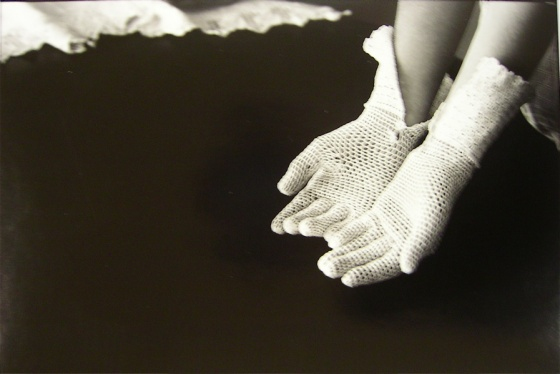 "<h4 style=""margin:0px 0px 5px 0px;"">(B) Crocheted gloves</h4>Medium: silver gelatin print<br />Price: $700 <span style=""color:#aaa"">