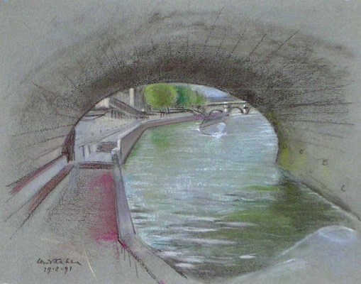 "Sous le pont Saint Michel<br /><br />Medium: Pastel<br />Price: $2,500<br /><a href=""Artwork-Kahan-SouslepontSaintMichel-1051.htm"">View full artwork details</a>"