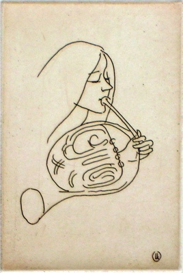 "<h4 style=""margin:0px 0px 5px 0px"">The Horn Player</h4>Medium: Etching<br />Price: $500 