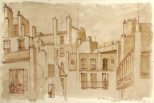 "the chimneys of Paris<br /><br />Medium: Pen and Ink/Watercolour<br />Price: $5,000<br /><a href=""Artwork-Kahan-thechimneysofParis-1053.htm"">View full artwork details</a>"