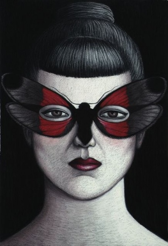 "Aictis erythozona Moth Mask, Framed<br /><br />Medium: Oil pastel on paper<br />Price: Sold<br /><a href=""Artwork-Klein-AictiserythozonaMothMaskFramed-2478.htm"">View full artwork details</a>"
