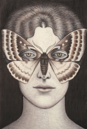 "Anthela denticulata Moth Mask, Framed<br /><br />Medium: Oil pastel on paper<br />Price: Sold<br /><a href=""Artwork-Klein-AntheladenticulataMothMaskFramed-2480.htm"">View full artwork details</a>"