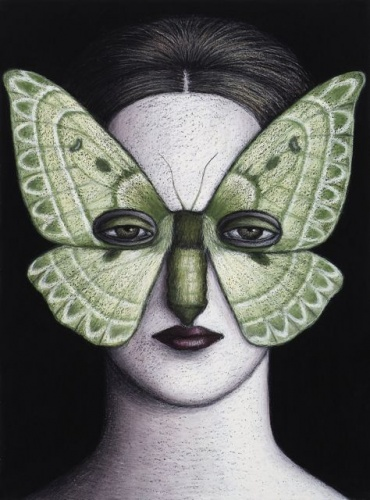 "Anthela oressarcha Moth Mask  Framed<br /><br />Medium: oil pastel on paper<br />Price: Sold<br /><a href=""Artwork-Klein-AnthelaoressarchaMothMaskFramed-2487.htm"">View full artwork details</a>"