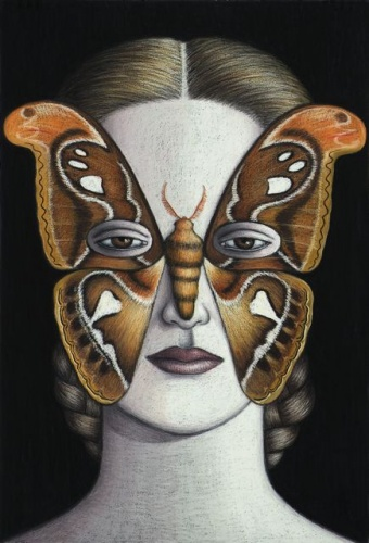 "Attacus Atlas Moth Mask, Framed<br /><br />Medium: Oil pastel on paper<br />Price: $5,000<br /><a href=""Artwork-Klein-AttacusAtlasMothMaskFramed-2482.htm"">View full artwork details</a>"