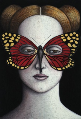 "Campylotes desgonsini Moth Mask, Framed<br /><br />Medium: Oil pastel on paper<br />Price: Sold<br /><a href=""Artwork-Klein-CampylotesdesgonsiniMothMaskFramed-2483.htm"">View full artwork details</a>"
