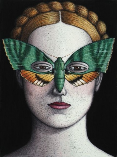 "Euchloron megaera Moth Mask, Framed<br /><br />Medium: Oil pastel on paper<br />Price: Sold<br /><a href=""Artwork-Klein-EuchloronmegaeraMothMaskFramed-2489.htm"">View full artwork details</a>"
