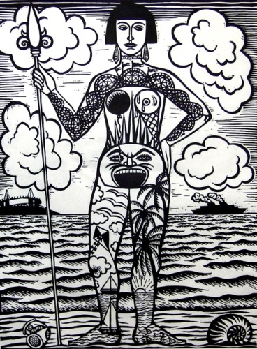 "St Kilda Warrior<br /><br />Medium: Linocut<br />Price: $660<br /><a href=""Artwork-Klein-StKildaWarrior-1076.htm"">View full artwork details</a>"