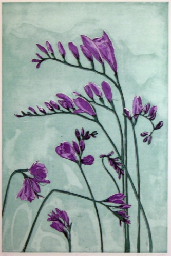 "<h4 style=""margin:0px 0px 5px 0px"">Freesias</h4>Medium: Linocut<br />Price: $396 