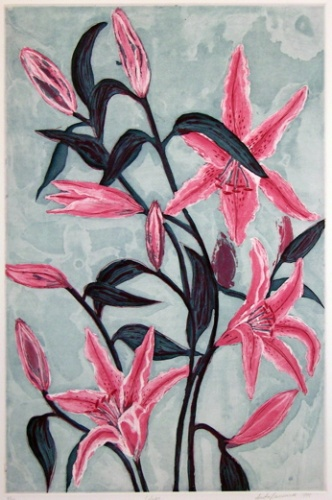"<h4 style=""margin:0px 0px 5px 0px;"">Lilies</h4>Medium: Linocut Hand Coloured<br />Price: $396 <span style=""color:#aaa"">