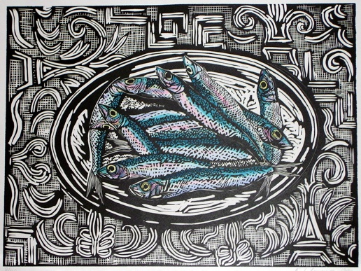 "<h4 style=""margin:0px 0px 5px 0px;"">Sardines</h4>Medium: Linocut  Hand Coloured<br />Price: $440 <span style=""color:#aaa"">