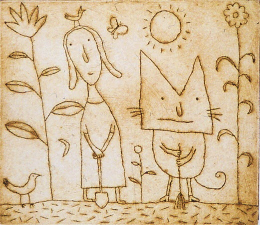 "<h4 style=""margin:0px 0px 5px 0px;"">A day in the garden</h4>Medium: Engraving on particle board<br />Price: Currently Unavailable <span style=""color:#aaa"">