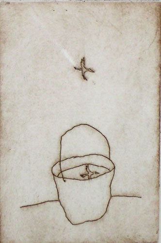 "<h4 style=""margin:0px 0px 5px 0px"">Bird and bucket</h4>Medium: Etching on copper<br />Price: Currently Unavailable 