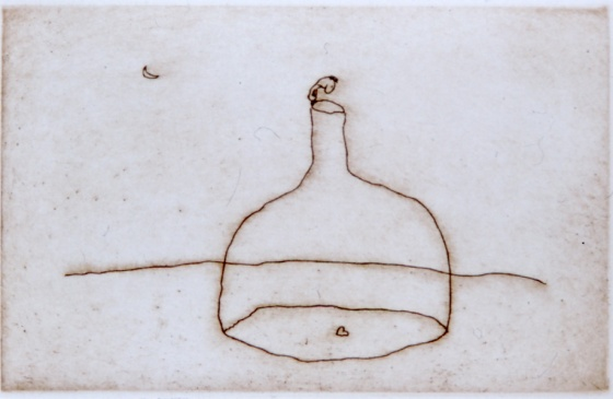 Bottle and heart by Michael Leunig
