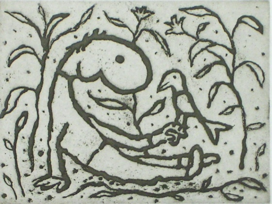 "<h4 style=""margin:0px 0px 5px 0px;"">Boy with a bird (green)</h4>Medium: Etching<br />Price: $950 <span style=""color:#aaa"">