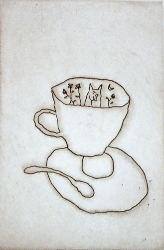 "<h4 style=""margin:0px 0px 5px 0px;"">Cat and Cup</h4>Medium: Etching on copper<br />Price: $900 <span style=""color:#aaa"">
