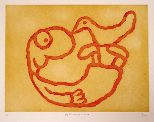 "<h4 style=""margin:0px 0px 5px 0px;"">Playful Creature - Sienna</h4>Medium: Etching<br />Price: $1,500 <span style=""color:#aaa"">