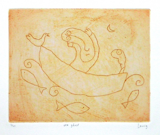 "sea ghost<br /><br />Medium: Engraving<br />Price: $950<br /><a href=""Artwork-Leunig-seaghost-1094.htm"">View full artwork details</a>"