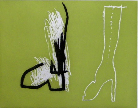 "<h4 style=""margin:0px 0px 5px 0px;"">Untitled (boots)</h4>Medium: Etching<br />Price: $400 <span style=""color:#aaa"">