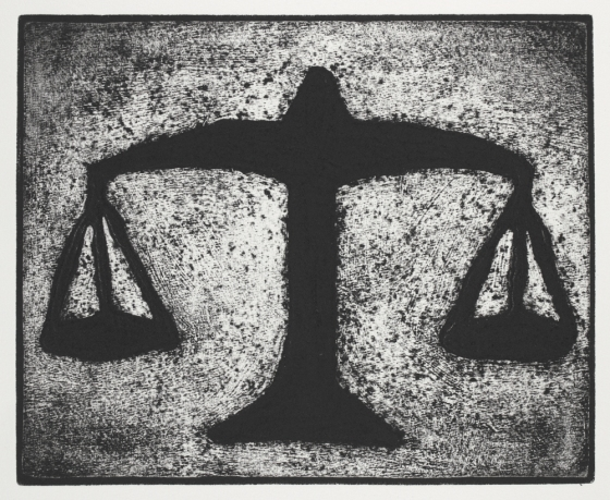 "<h4 style=""margin:0px 0px 5px 0px"">Scales of Justice 1</h4>Medium: Collograph, chine colle, Framed<br />Price: $750 