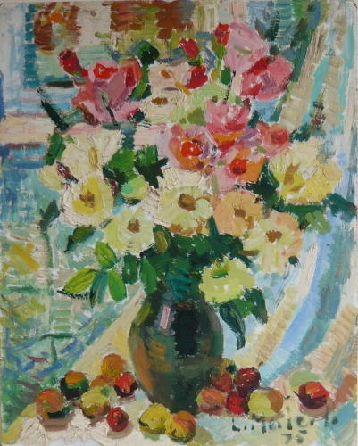 "<h4 style=""margin:0px 0px 5px 0px;"">Flowers, fruit, vase and a striped drape 1975</h4>Medium: Oil on board, Framed<br />Price: $7,800 <span style=""color:#aaa"">