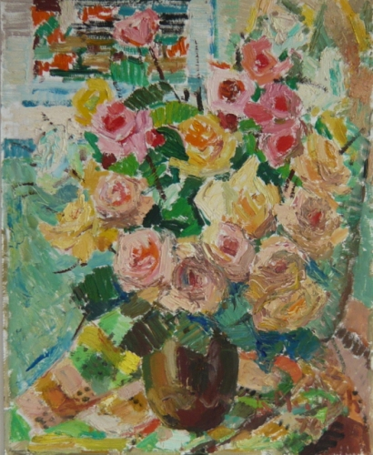 "<h4 style=""margin:0px 0px 5px 0px;"">Vase on a quilt, '76</h4>Medium: Oil on board<br />Price: $7,500 <span style=""color:#aaa"">