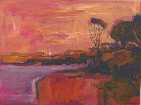"<h4 style=""margin:0px 0px 5px 0px"">Evening - Bayside</h4>Medium: Gouache on paper<br />Price: $2,500 