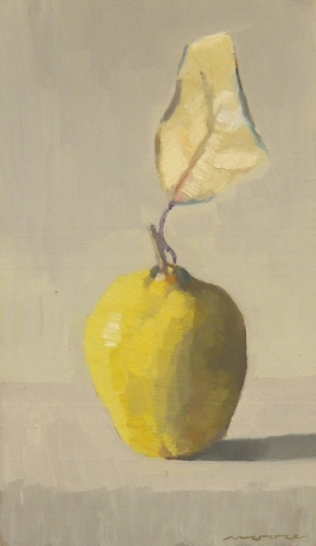 "<h4 style=""margin:0px 0px 5px 0px"">Quince with Leaf </h4>Medium: Oilon cedar framed<br />Price: Sold 