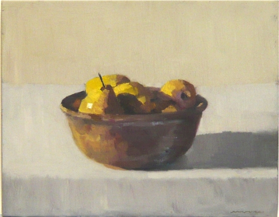 "<h4 style=""margin:0px 0px 5px 0px"">Pears in a brown bowl by David Moore</h4>Medium: Oil on linen framed<br />Price: $1,800 