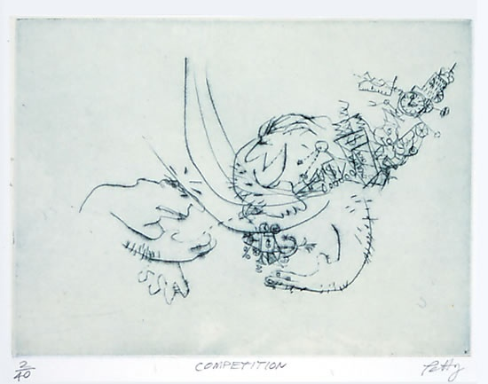 "<h4 style=""margin:0px 0px 5px 0px"">Competition</h4>Medium: Drypoint /Chine Colle<br />Price: $380 