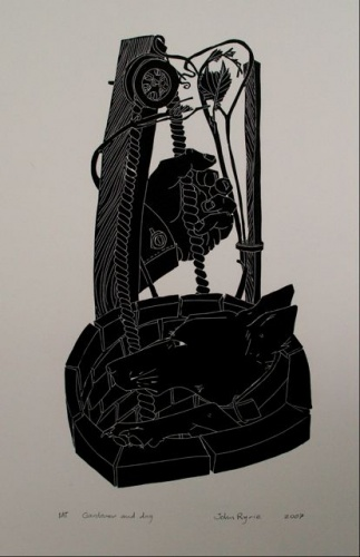 "<h4 style=""margin:0px 0px 5px 0px"">Gardener and dog</h4>Medium: Linocut<br />Price: $550 