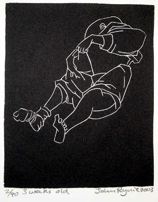 "<h4 style=""margin:0px 0px 5px 0px"">Three weeks old</h4>Medium: Linocut<br />Price: $260 
