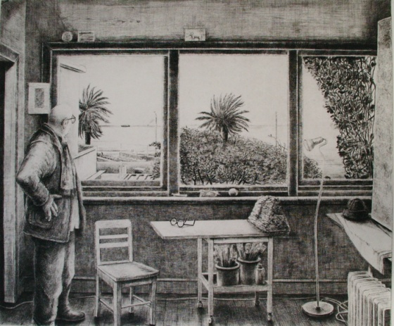 "AM in studio<br /><br />Medium: Etching & drypoint<br />Price: $1,200<br /><a href=""Artwork-Scurry-AMinstudio-2140.htm"">View full artwork details</a>"