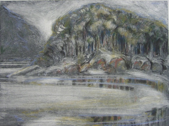 "Tidal River II<br /><br />Medium: Monoprint & Pastel<br />Price: $935<br /><a href=""Artwork-Spooner-TidalRiverII-504.htm"">View full artwork details</a>"