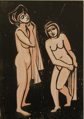 "Bathers<br /><br />Medium: Woodcut<br />Price: $750<br /><a href=""Artwork-Armstrong-Bathers-1543.htm"">View full artwork details</a>"