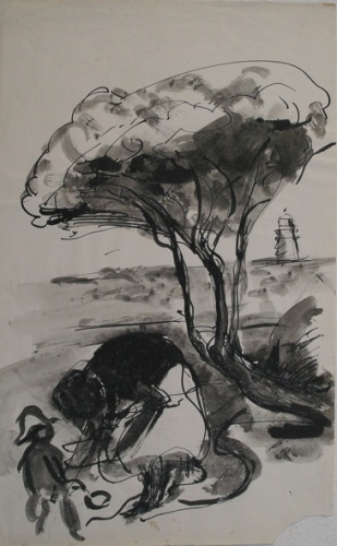 "Beach scene<br /><br />Medium: Ink on paper<br />Price: Sold<br /><a href=""Artwork-Armstrong-Beachscene-1848.htm"">View full artwork details</a>"