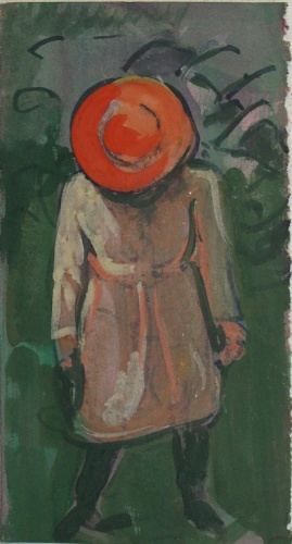 "Chapeau Orange<br /><br />Medium: Gouache on paper<br />Price: Sold<br /><a href=""Artwork-Armstrong-ChapeauOrange-1839.htm"">View full artwork details</a>"