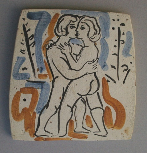 "Daphnis and Chloe I (Embrace)<br /><br />Medium: Ceramic<br />Price: $1,800<br /><a href=""Artwork-Armstrong-DaphnisandChloeIEmbrace-1887.htm"">View full artwork details</a>"