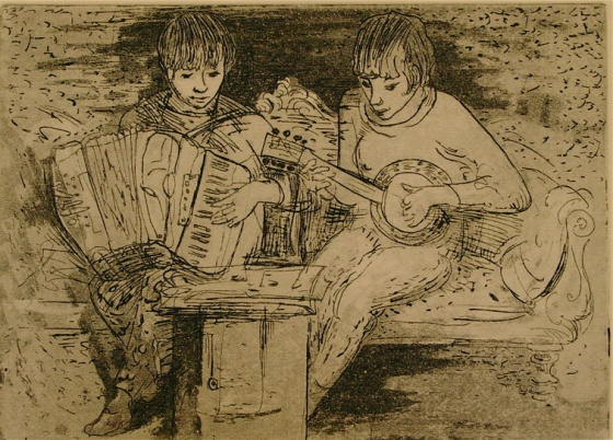 "Duet<br /><br />Medium: Etching<br />Price: $800<br /><a href=""Artwork-Armstrong-Duet-1550.htm"">View full artwork details</a>"