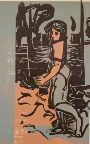 "Encounter<br /><br />Medium: Woodcut<br />Price: $800<br /><a href=""Artwork-Armstrong-Encounter-1551.htm"">View full artwork details</a>"