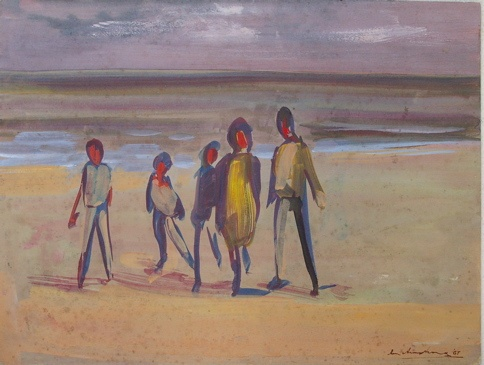 "<h4 style=""margin:0px 0px 5px 0px"">Family beach walk</h4>Medium: Gouache on card<br />Price: Sold 