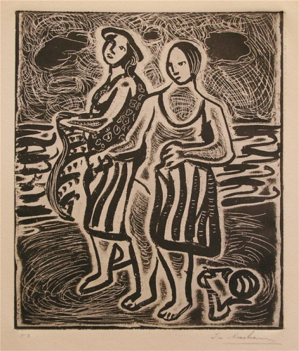 "Girls on the sand<br /><br />Medium: Etching<br />Price: Sold<br /><a href=""Artwork-Armstrong-Girlsonthesand-1556.htm"">View full artwork details</a>"