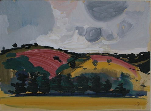 "Hills<br /><br />Medium: Gouache on card<br />Price: $2,800<br /><a href=""Artwork-Armstrong-Hills-1856.htm"">View full artwork details</a>"
