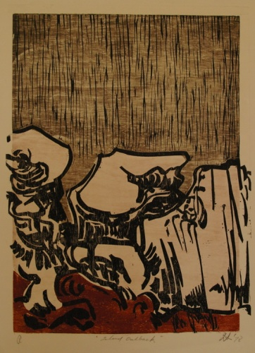 "Inland outback<br /><br />Medium: Woodcut<br />Price: $900<br /><a href=""Artwork-Armstrong-Inlandoutback-1557.htm"">View full artwork details</a>"